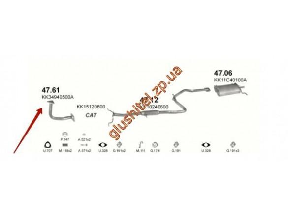 Трубка коллекторная Киа Прайд (Kia Pride) 94-00 1.3i HB (47.61) Polmostrow алюминизированный
