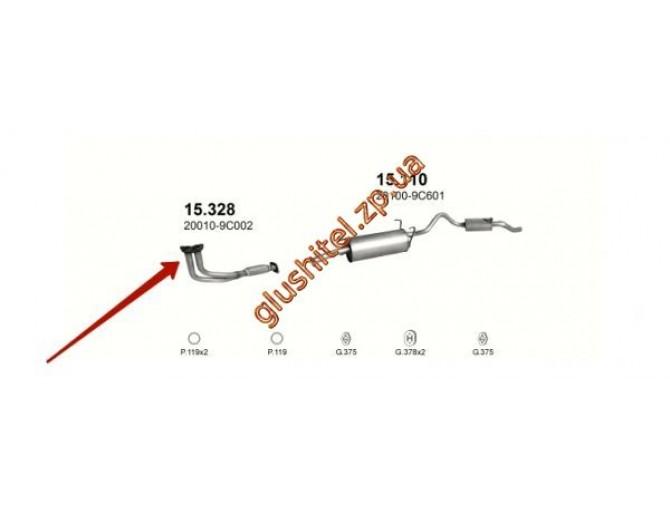 Труба приемная Ниссан Серена (Nissan Serena) 2,0 /  2,3 / 2,3 D 92- (15.328) Polmostrow алюминизированный