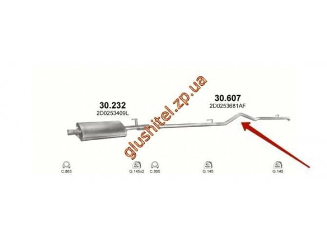 Труба конечная Фольксваген ЛТ (Volkswagen LT) 28/35 96 -06 XLWB, 4025 mm (30.607) Polmostrow алюминизированный