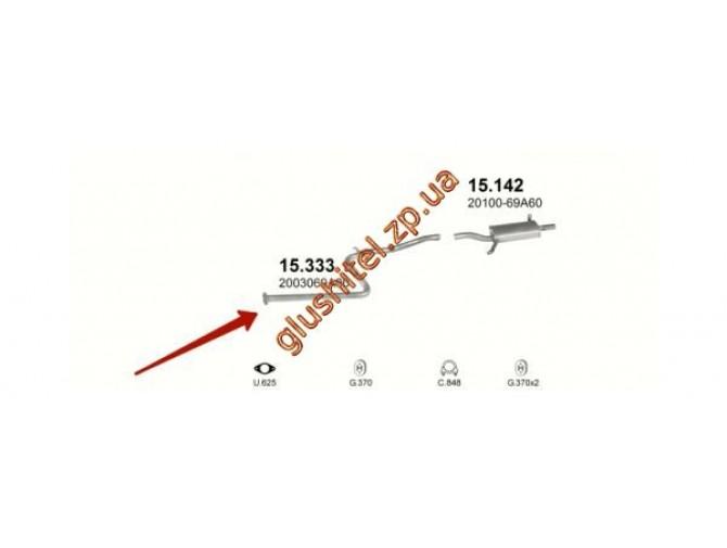 Трубка средняя Ниссан Санни (Nissan Sunny) 86-90 1.6i kat (15.333) Polmostrow алюминизированный