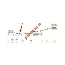 Трубка средняя Ниссан Санни (Nissan Sunny) 1.4Ix 92' kat (15.363) Polmostrow алюминизированный