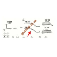 Трубка средняя Пежо 206 (Peugeot 206) 1.4 09/98-01 (19.196) Polmostrow алюминизированный
