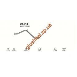 Труба средняя Рено Эспейс I (Renault Espace I) 2.1TD  01/88 - 05/91 (21.313) Polmostrow алюминизированный
