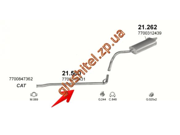 Трубка средняя Рено Кенго (Renault Kangoo) 1.2 (21.500) Polmostrow алюминизированный