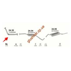 Трубка коллекторная Шкода Фаворит (Skoda Favorit) 1.3 136L  89-92 (24.30) Polmostrow алюминизированный