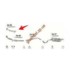 Трубка коллекторная без катализатора Шкода Октавиа (Skoda Octavia) / Ауди А3 (Audi A3) / Сеат Леон, Толедо (Seat Leon, Toledo) / Фольксваген Бора (Volkswagen Bora) / Фольксваген Гольф IV (Volkswagen Golf IV) 1.9TDi  97 - 06/06 (24.59) Polmostrow алюминизи