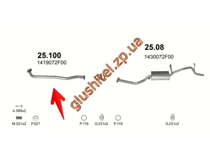 Труба приемная Сузуки Альто (Suzuki Alto) 1.0i  94- (25.100) Polmostrow алюминизированный