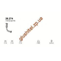 Труба приемная Тойота Карина Е  (Toyota Carina E) 1.6i / 1.8i (26.274) 96-97 Polmostrow алюминизированный