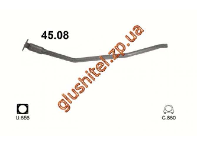 Труба коллекторная Крайслер Вояджер (Chrysler Voyager) 2.5TD 98- (45.08) Polmostrow алюминизированный