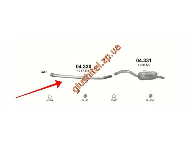 Средняя трубка глушителя Ситроен С8 (Citroen C8) 2.0 HDi , 2.2 HDi 02-06 , Фиат Улиси II (Fiat Ulysse II) 2.0 JTD 2.2 JTD 02-06 , Лянча Федра (Lancia Pedra) 2.0 JTD, 2.2 JTD 02-06 Пежо 807 (Peugeot 807) 2.0 HDi , 2.2 HDi 02-06 (04.330) Polmostrow алюминиз