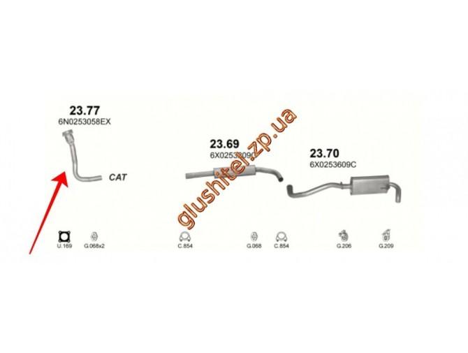 Труба приемная Сеат Ароса (Seat Arosa) / Фольксваген Поло (Volkswagen Polo) 1.7 / 1.9 D 96-05 (23.77) Polmostrow алюминизированный