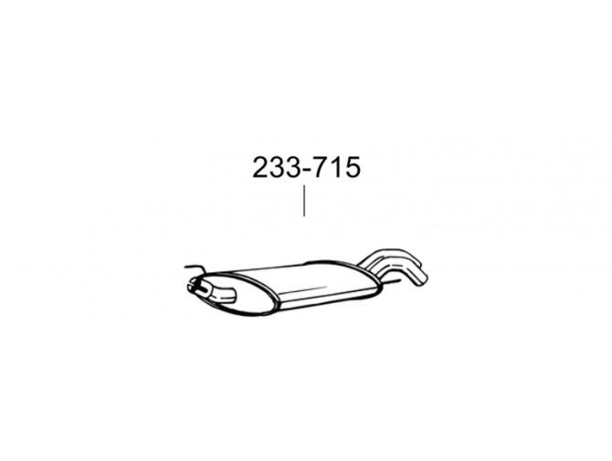Глушитель Фольксваген Гольф III (Volkswagen Golf III) 2.0 / 1.9TDi 93-97 (233-715) Bosal 30.87 алюминизированный