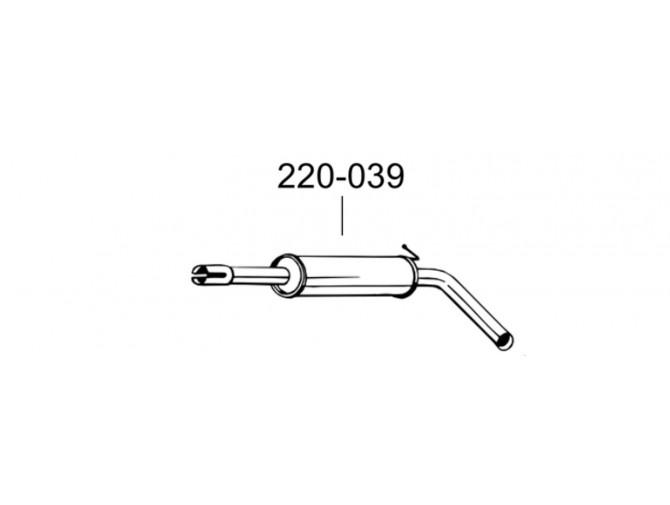 Резонатор Шкода Фабия (Skoda Fabia) 1.4i 00- (220-039) Bosal 24.34 алюминизированный