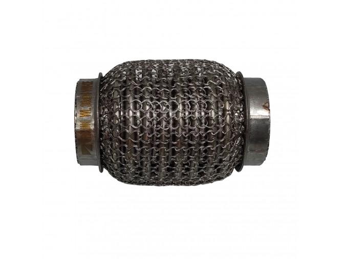 Гофра глушителя 38Х94 усиленная Interlock кольчуга (3 слоя, короткий фланец / нерж.сталь) Walline