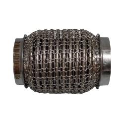 Гофра глушителя 45Х100 усиленная Interlock кольчуга (3 слоя, короткий фланец / нерж.сталь) Walline
