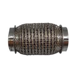 Гофра глушителя 45Х120 усиленная Interlock кольчуга (3 слоя, короткий фланец / нерж.сталь) Walline