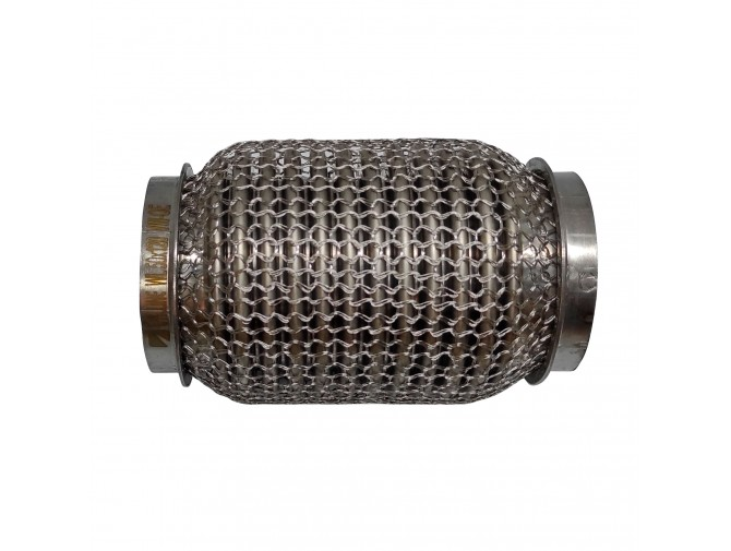 Гофра глушителя 50Х120 усиленная Interlock кольчуга (3 слоя, короткий фланец / нерж.сталь) Walline