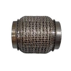 Гофра глушителя 55Х100 усиленная Interlock кольчуга (3 слоя, короткий фланец / нерж.сталь) Walline