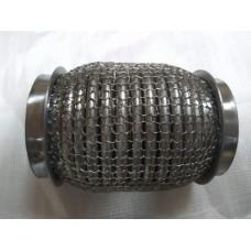 Гофра глушителя усиленная 60Х115 Interlock кольчуга (3 слоя, короткий фланец / нерж.сталь) Walline