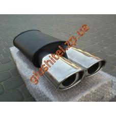Прямоточный глушитель YFX-0738 (V019) алюминизированный/нержавейка