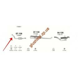 Заменитель катализатора Ситроен Эвазион (Citroen Evasion) / Ситроен Джампи (Citroen Jumpy); Фиат Скудо (Fiat Scudo) / Фиат Улус (Фиат Ulysse); Peugeot Expert (Пежо Эксперт) / Пежо 806 (Peugeot 806) 1.9 TD (07.136) Polmostrow алюминизированный