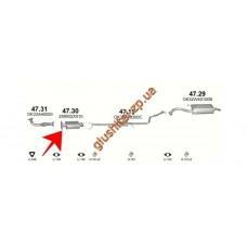Заменитель катализатора Киа Рио (Kia Rio) 1.3i/1.5i Hatchback,Sedan 99-07/02 (47.30) Polmostrow алюминизированный
