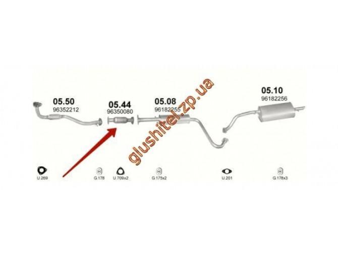 Замена катализатора ДЭУ Ланос ( Daewoo Lanos) (05.44 ) 1.3i/1.5i/1.6i ; Leganza 2.0i 16V ; Nubira 1.6i 16V/2.0i 16V  Polmostrow алюминизированный