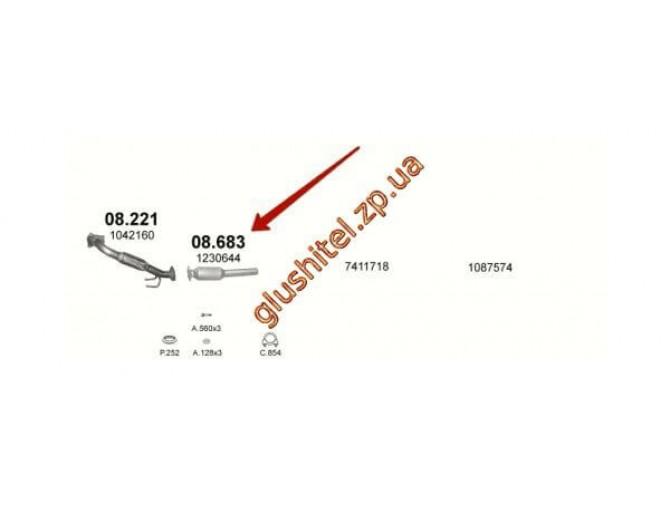 Заменитель катализатора Форд Галакси (Ford Galaxy) 1.9 TDі /Сеат Алхамбра (Alhambra) /Сеат Кордоба (Cordoba) /Сеат Ибица (Ibiza) /Сеат Толедо (Toledo) /Фольцфаген Гольф III (Golf III) /Фольцфаген  Шаран (Sharan) /Фольцфаген Венто (Vento) (08.683) Polmostr